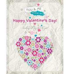 Background with valentine heart of spring flowers vector