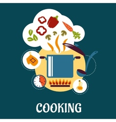 Cooking flat infographic with vegetable soup vector