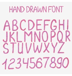 Hand drawn alphabet with vector
