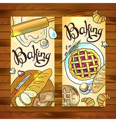 Beautiful hand-draw vertical baners with baking vector