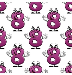 Cute happy waving number 8 seamless pattern vector