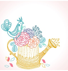 Floral background with watering can and bird vector
