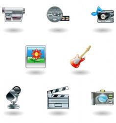 Shiny media icons vector