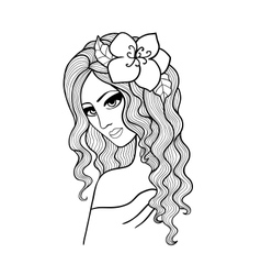 Black and white of a girl with a flower in h vector