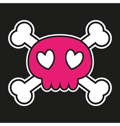 Pink skull with crossbones and hearts vector