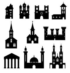Buildings - silhouette set of churches and castles vector