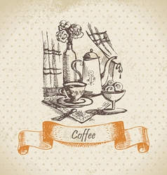 Still life with coffee vintage hand drawn vector