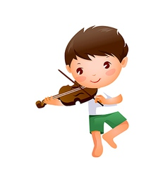 Close-up of boy holding violin vector