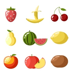 Flat design icons fresh fruit apple cherry vector