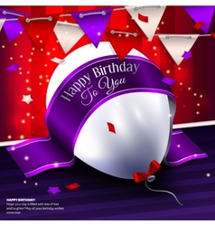 Birthday card with balloon bunting flags vector
