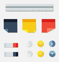 Set of office stickers eraser buttons and ruler vector