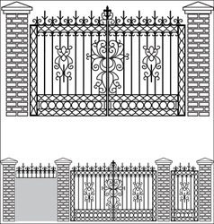 Iron gate doors and fences vector