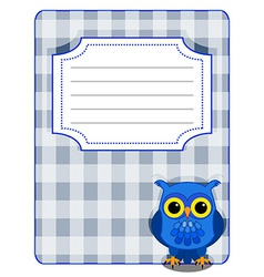 Owl gingham cover- blue and grey vector