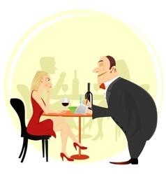 Obliging waiter taking order vector