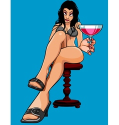Cartoon sexy woman sitting with a glass vector