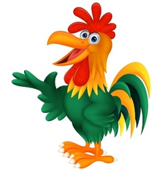 Cute rooster cartoon presenting vector