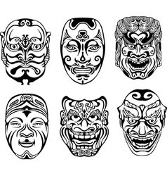 Japanese nogaku theatrical masks vector