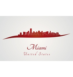 Miami skyline in red vector