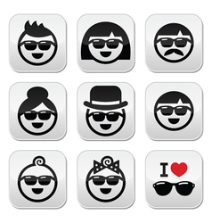 People wearing sunglasses holidays icons set vector