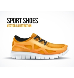 Running orange shoes bright sport sneakers symbol vector