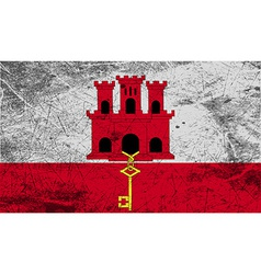 Flag of gibraltar with old texture vector