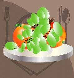 Grapes and oranges vector