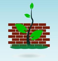Brick wall grass concept vector