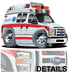 Cartoon ambulance car vector
