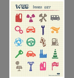 Auto and energy web icons set vector