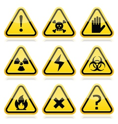 Danger risk warning modern traingle signs set vector