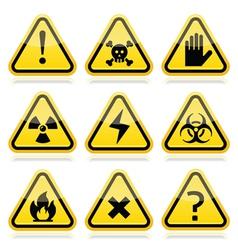 Danger risk warning modern traingle signs set vector