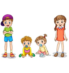 Two kids and two infants vector