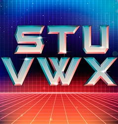 80s retro futuristic font from s to x vector