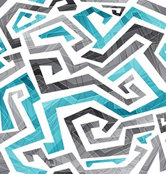 Abstract blue curved lines seamless pattern vector