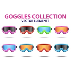 Set of classic snowboard ski goggles with colorful vector