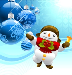 Snowman with christmas balls vector
