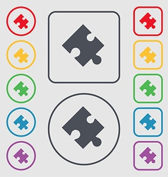 Puzzle piece icon sign symbol on the round and vector