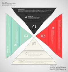 Four folded paper pieced on light background vector
