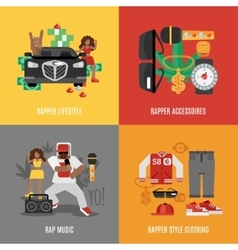 Rap music flat set vector