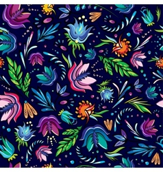 Seamless cartoon hand-drawn pattern with flowers vector