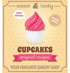 Cupcake retro poster vector