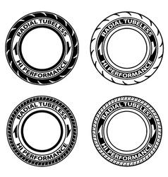 Radial tubeless tyre symbols vector