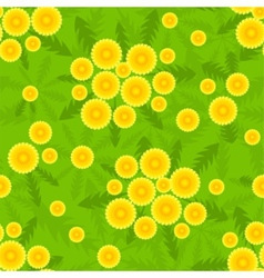 Yellow dandelion seamless pattern vector