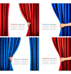 Set of backgrounds with curtain and hand vector