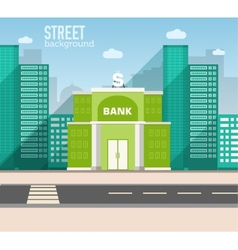 Bank building in city space with road vector