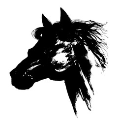 Black horse head carbon drawing vector