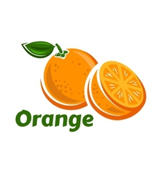 Whole and half of orange fruits vector