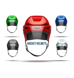 Set of classic ice hockey helmets with glass vector