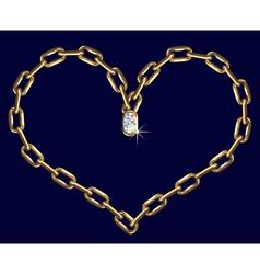 Golden chain heart vector