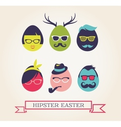 Happy hipster easter - set of stylish eggs icons vector